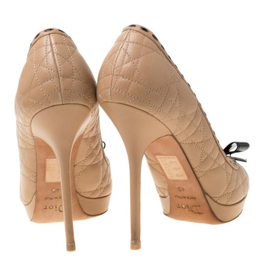 Dior Leather Patent Peep Toe Beige Pumps Image 2