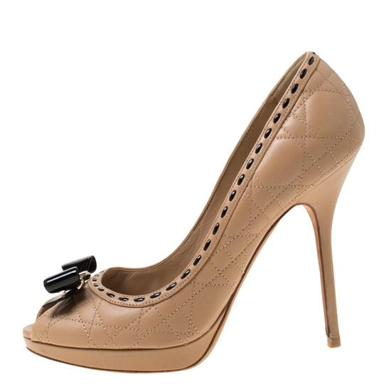 Dior Leather Patent Peep Toe Beige Pumps Image 5