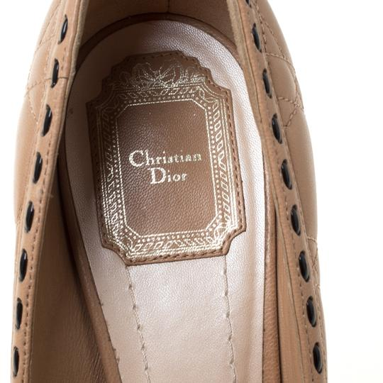 Dior Leather Patent Peep Toe Beige Pumps Image 6