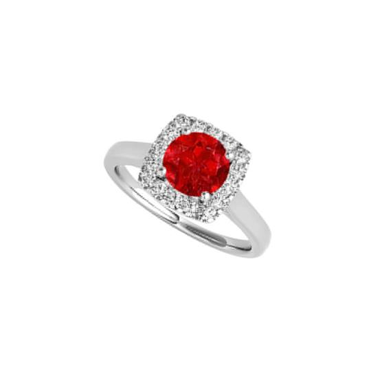 Marco B Ruby Cubic Zirconia Halo Ring in 14K White Gold Image 0