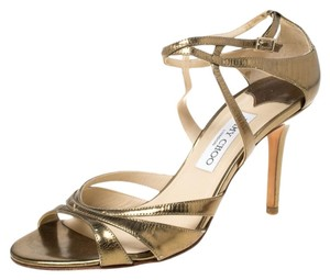 Jimmy Choo Leather Ankle Strap Gold Sandals