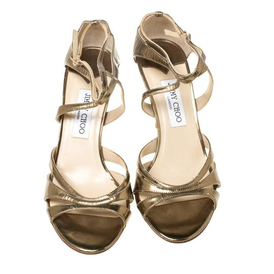 Jimmy Choo Leather Ankle Strap Gold Sandals Image 1