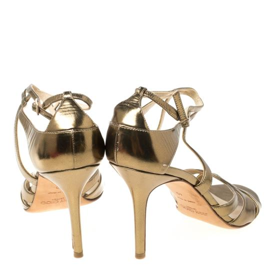 Jimmy Choo Leather Ankle Strap Gold Sandals Image 2