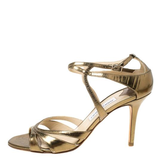 Jimmy Choo Leather Ankle Strap Gold Sandals Image 3