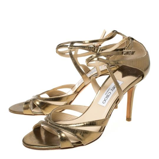 Jimmy Choo Leather Ankle Strap Gold Sandals Image 4