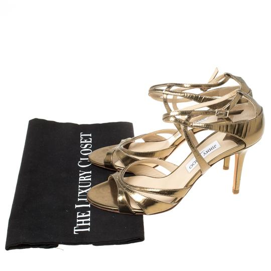 Jimmy Choo Leather Ankle Strap Gold Sandals Image 7
