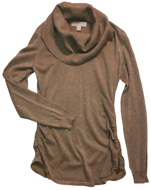 Item - Gold Metallic Zipper Detail Tunic Size 8 (M)
