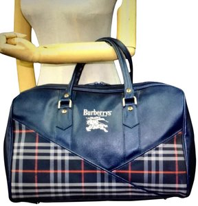 Burberry Satchel in Navy Blue Plaid Burberry's