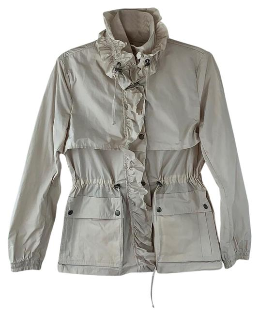 Item - Cream Lightweight Ruffled Snap-up Cinched Jacket Size 6 (S)