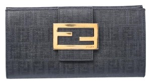 Fendi Black Zucchino Coated Canvas Forever Continental Wallet