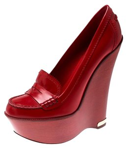 Louis Vuitton Leather Wedge Platform Red Pumps