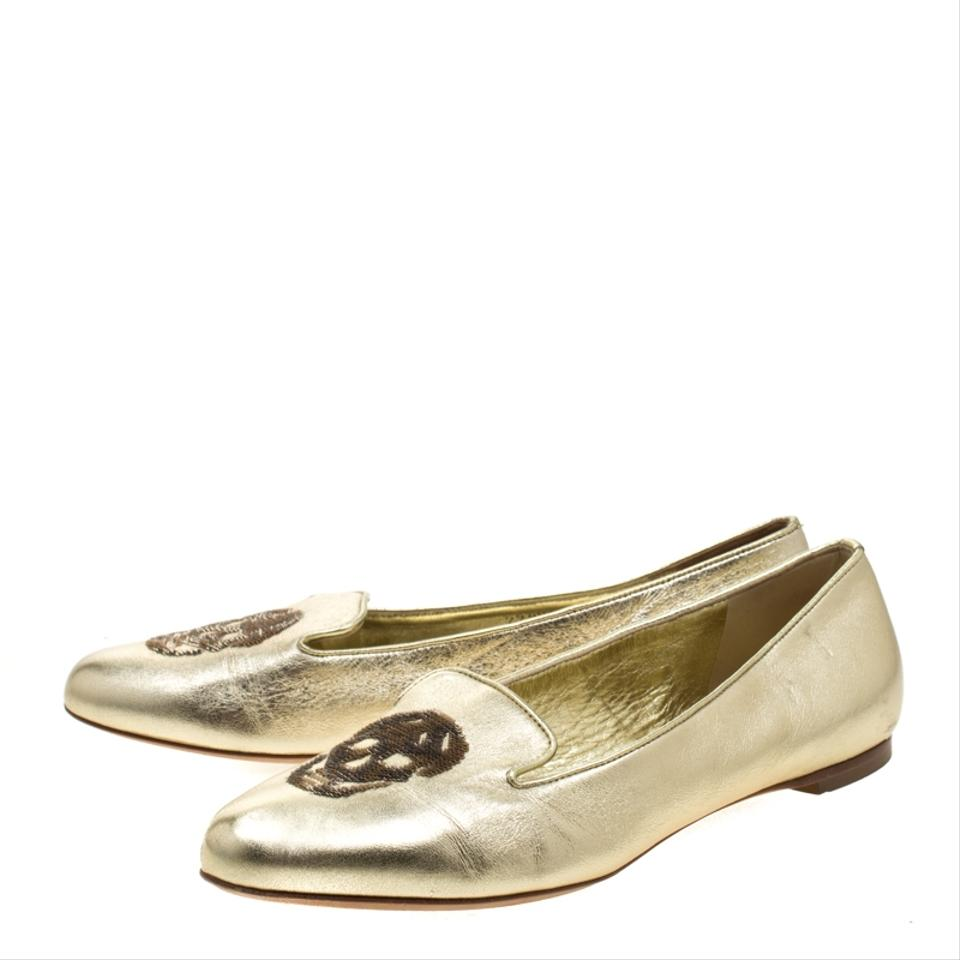 0a287f0b Alexander McQueen Gold Leather Sequin Skull Ballet Loafer Flats Size EU 38  (Approx. US 8) Regular (M, B) 16% off retail