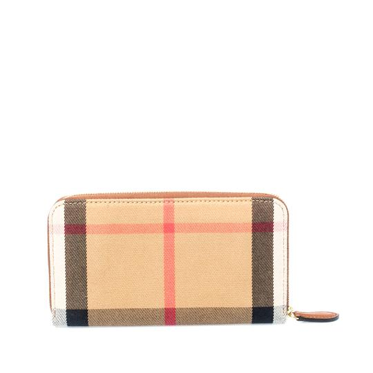 Burberry Brown House Check Canvas and Leather Elmore Zip Round Wallet Image 1