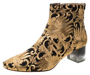 Tory Burch Ankle Leather Brocade Gold Boots