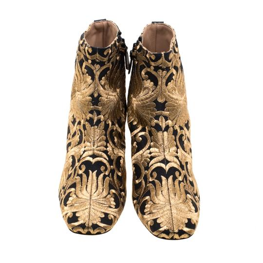 Tory Burch Ankle Leather Brocade Gold Boots Image 1