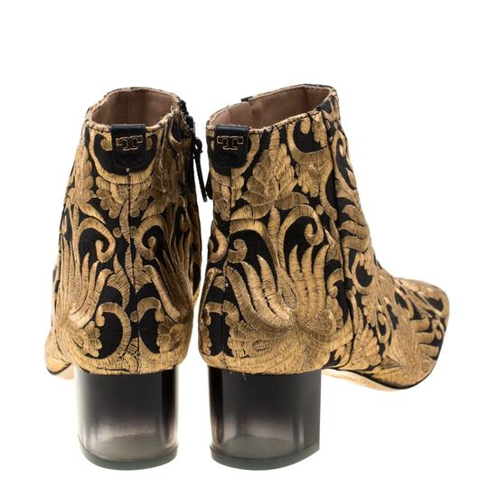 Tory Burch Ankle Leather Brocade Gold Boots Image 2