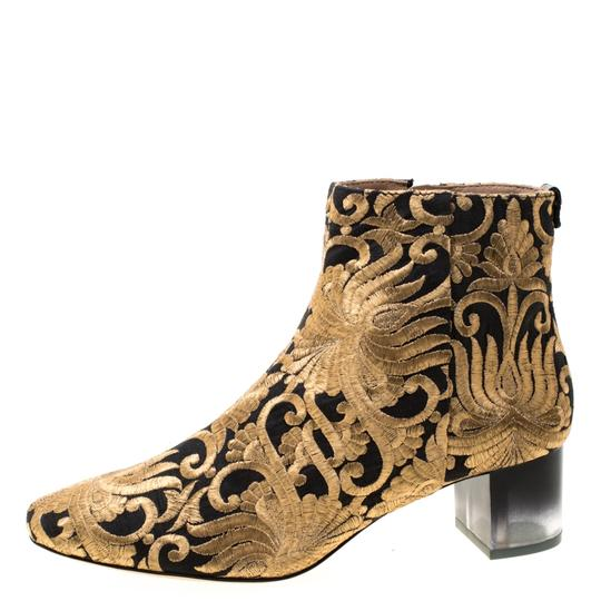 Tory Burch Ankle Leather Brocade Gold Boots Image 4