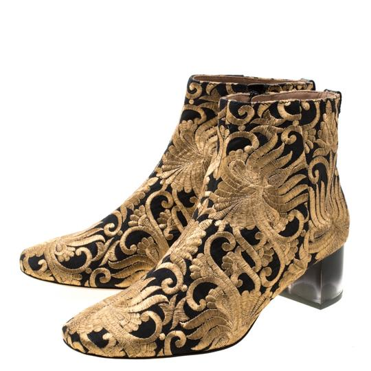 Tory Burch Ankle Leather Brocade Gold Boots Image 5