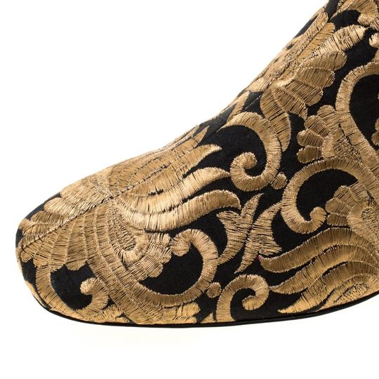 Tory Burch Ankle Leather Brocade Gold Boots Image 6