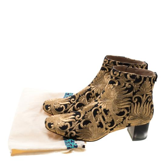 Tory Burch Ankle Leather Brocade Gold Boots Image 7