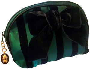 Dior Rare Vintage Royal Green and Black striped Velvet Bow Cosmetic Bag