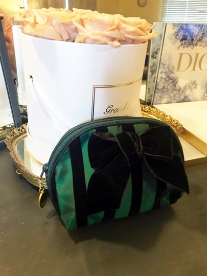 Dior Rare Vintage Royal Green and Black striped Velvet Bow Cosmetic Bag Image 11