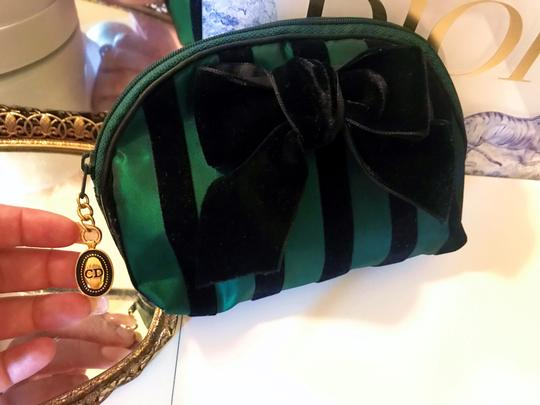 Dior Rare Vintage Royal Green and Black striped Velvet Bow Cosmetic Bag Image 2