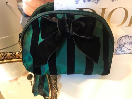 Dior Rare Vintage Royal Green and Black striped Velvet Bow Cosmetic Bag Image 3