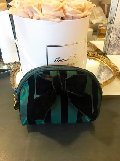 Dior Rare Vintage Royal Green and Black striped Velvet Bow Cosmetic Bag Image 5