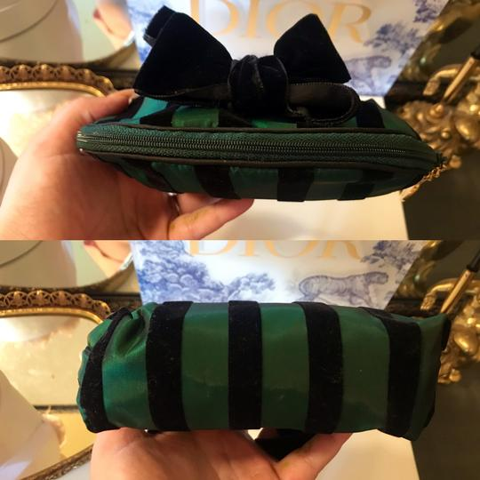 Dior Rare Vintage Royal Green and Black striped Velvet Bow Cosmetic Bag Image 6