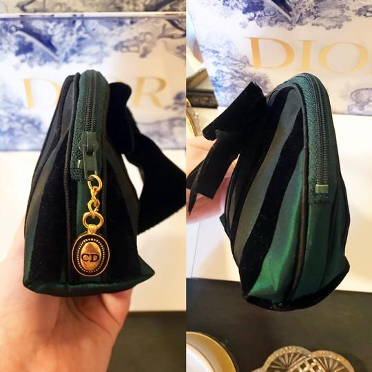 Dior Rare Vintage Royal Green and Black striped Velvet Bow Cosmetic Bag Image 7