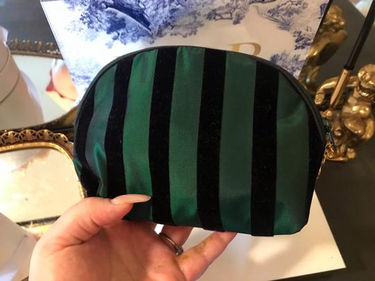 Dior Rare Vintage Royal Green and Black striped Velvet Bow Cosmetic Bag Image 9