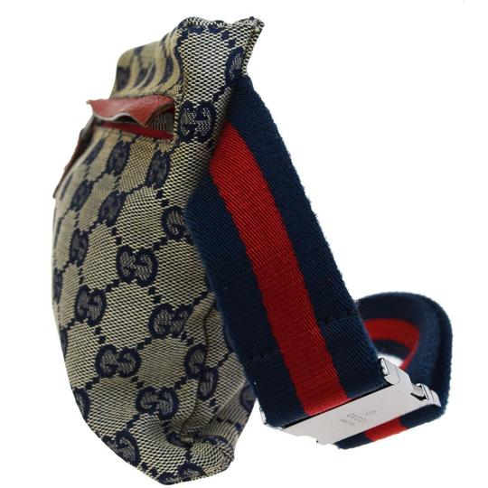 Gucci GUCCI GG Pattern Sherry Bum Bag Belt Canvas Leather Navy Blue Image 1