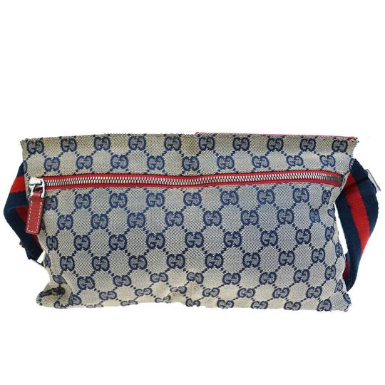 Gucci GUCCI GG Pattern Sherry Bum Bag Belt Canvas Leather Navy Blue Image 2