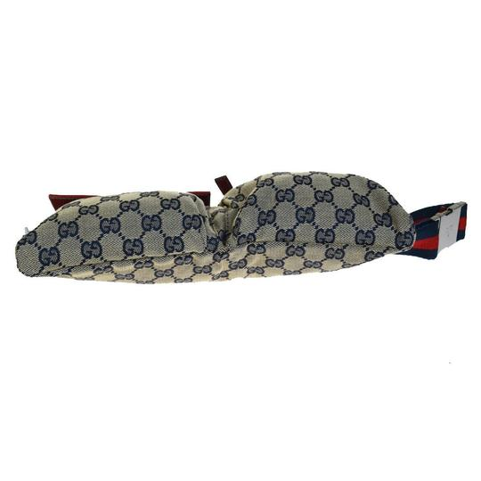 Gucci GUCCI GG Pattern Sherry Bum Bag Belt Canvas Leather Navy Blue Image 4
