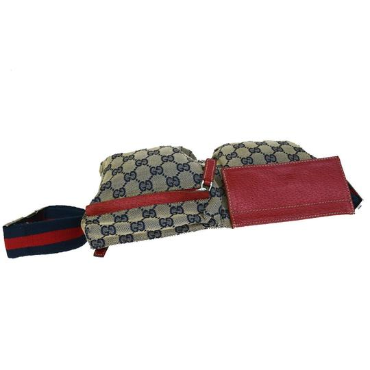 Gucci GUCCI GG Pattern Sherry Bum Bag Belt Canvas Leather Navy Blue Image 5