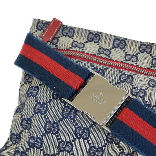Gucci GUCCI GG Pattern Sherry Bum Bag Belt Canvas Leather Navy Blue Image 8