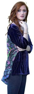 Johnny Was Velvet Front Silk Scarf Back V Neck Luxe Hem Vents Luxe Back Top Purple