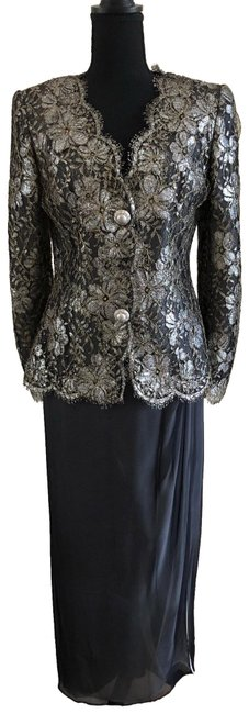 Item - Grey Lace Gown Long Formal Dress Size 8 (M)