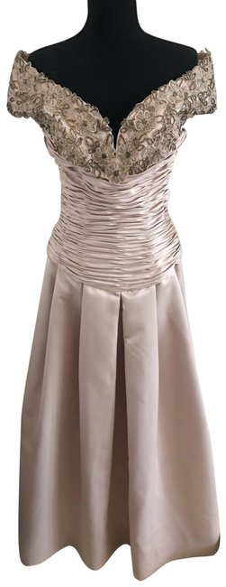 Item - Cream Strapless Embellished Gown Long Formal Dress Size 6 (S)