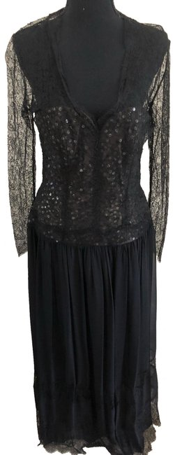 Item - Black Lace and Sequin Gown Long Formal Dress Size 6 (S)