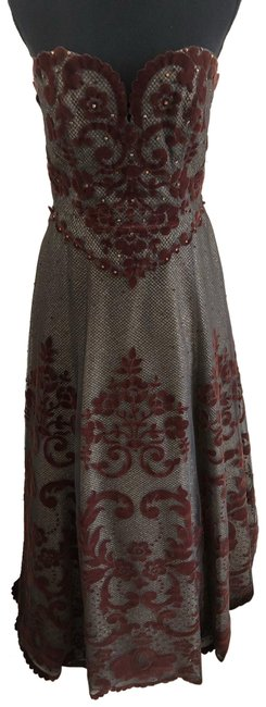 Item - Brown and Gold Embellished Tulle Gown Long Formal Dress Size 6 (S)