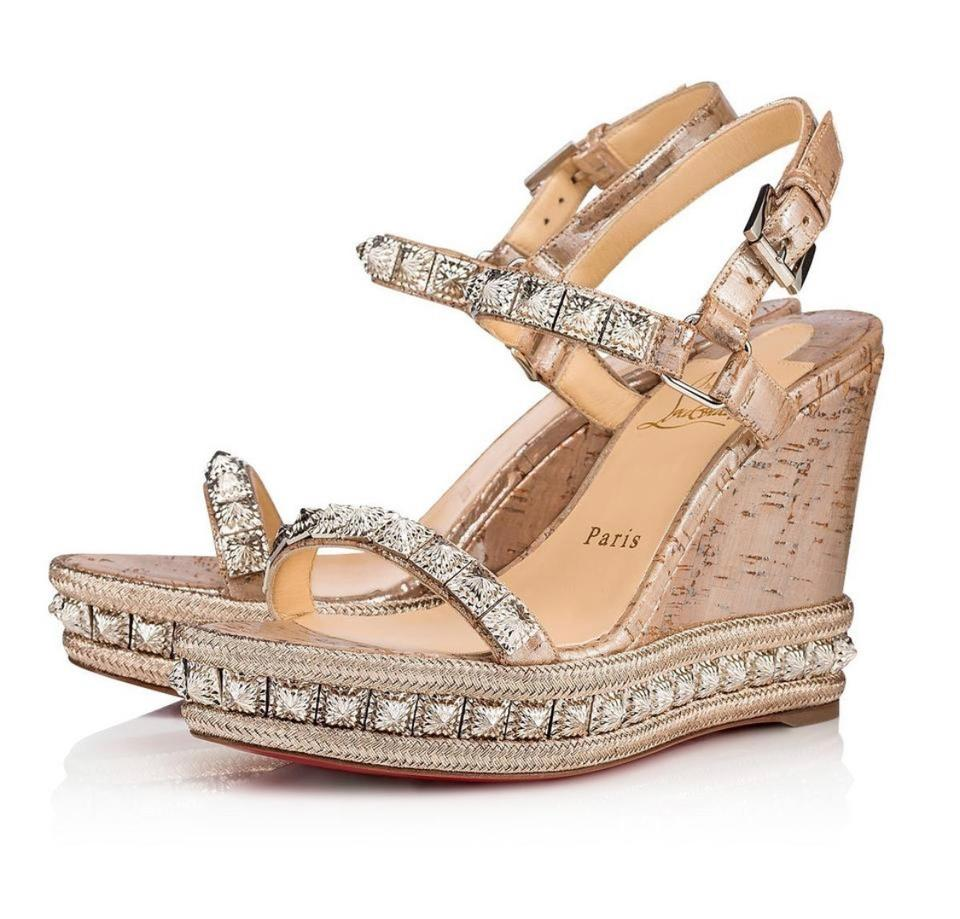 separation shoes 288e5 dd937 Christian Louboutin Silver Pyradiams Beige Spike Sandal Wedges Size EU 38  (Approx. US 8) Regular (M, B) 28% off retail