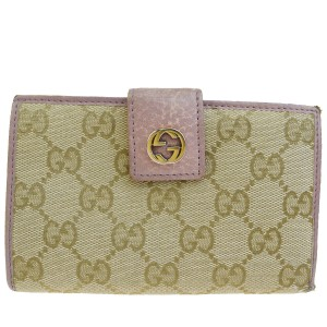 Gucci Auth GUCCI GG Pattern Bifold Wallet Purse Canvas Leather Beige Purple
