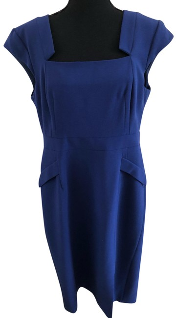 Item - Blue Wool Crepe Cocktail Or Mid-length Work/Office Dress Size 16 (XL, Plus 0x)