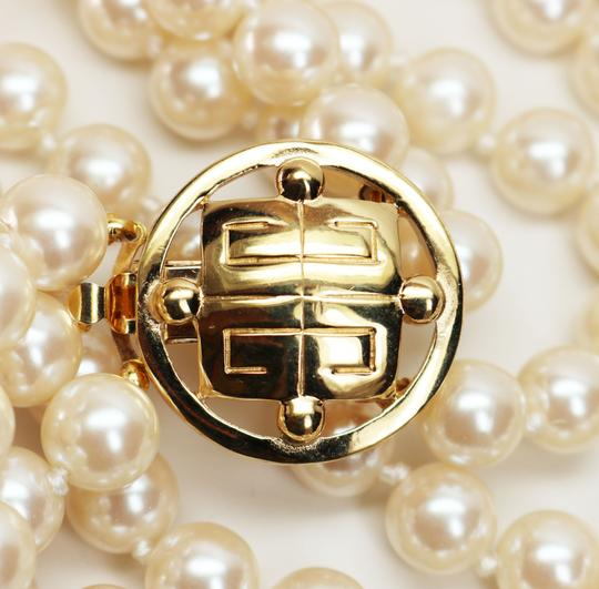 Givenchy Givenchy Triple Strand White Pearl Choker with Logo Clasp Image 2