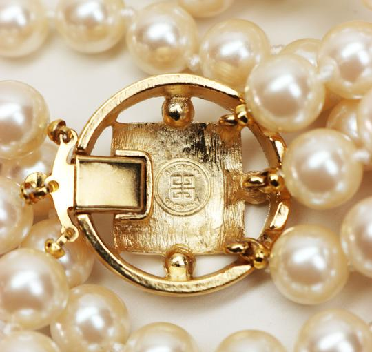 Givenchy Givenchy Triple Strand White Pearl Choker with Logo Clasp Image 6