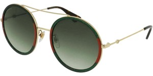 Gucci & Green Gradient Lens Women's Round Sunglasses
