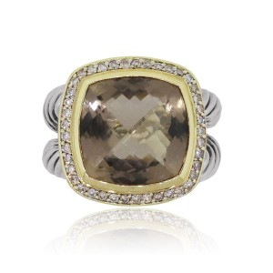 David Yurman David Yurman Albion Two Tone Smoky Quartz and Diamond Ring