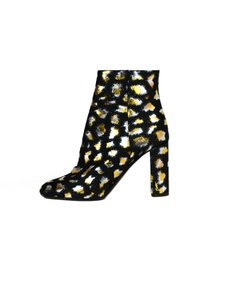 Saint Laurent Loulou Leopard Jacquard Block-heel Bootie Black Pumps